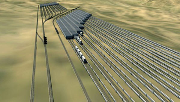 Concept image: the proposed Advanced Rail Energy Storage (ARES) installation in Nevada.