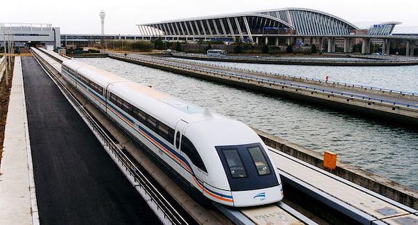 A maglev Train pulls out of its station at Shanghai Pudong International Airport