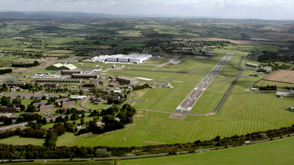 An aerial view of the South Wales location (based in Bro Tathan) that will be used to build the first UK gigaplant for electric vehicle batteries production.