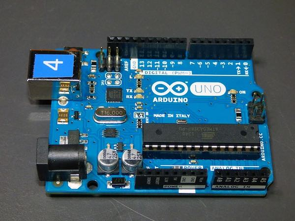 A close-up of an Arduino microcontroller