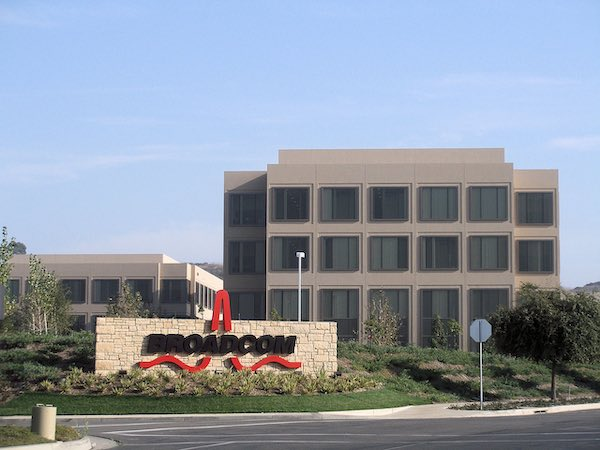 The corporate headquarters of Broadcomm in Irvine, California.