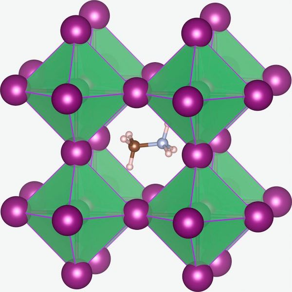 Illustration of CH3NH3PbI3 perovskite crystal structure.