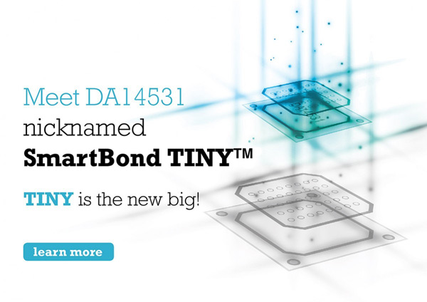 Dialog Semiconductor's graphic impression of the DA14351 (nicknamed SmartBond TINY) system-on-chip.