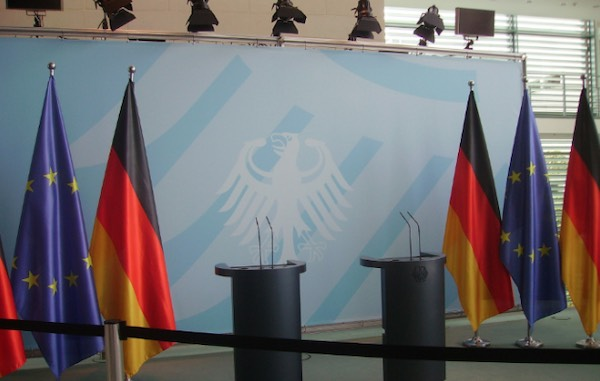 EU and German Flags on Stage