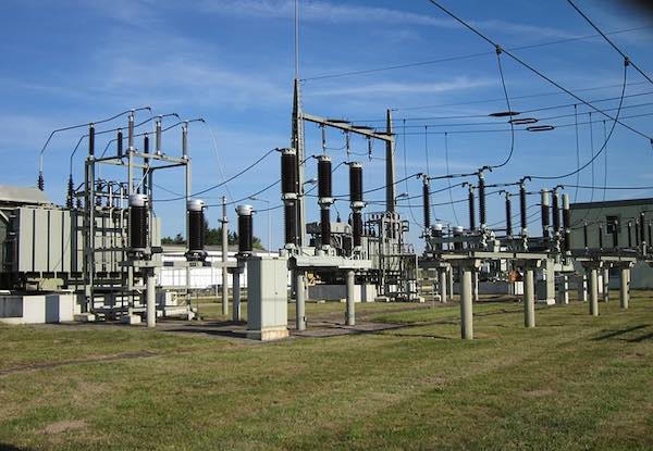 An example of electrical power transmission technology: an outdoor electrical substation