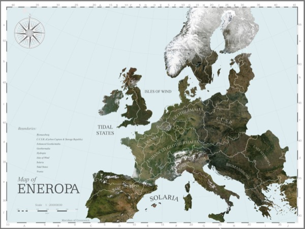 A map of Eneropa, a visionary representation of future Europe, according to the main renewable energy services sources