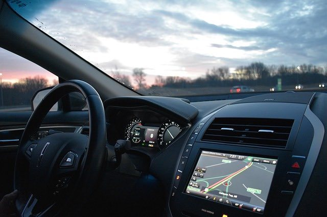 GPS system in a vehicle.