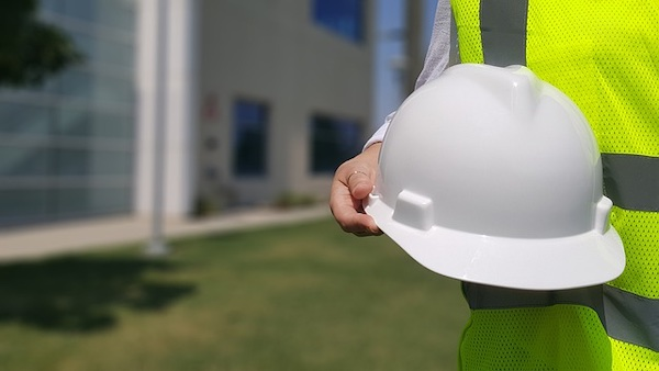 A hard hat, which is used for protecting an engineer or other worker's head in industrial environments