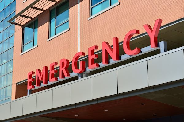 Hospital emergency entrance.