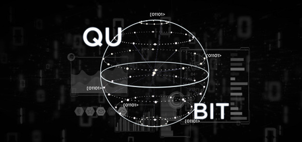 A graphic representation of a qubit, alongside '1's and '0's, which are in reference to binary computing and spintronics.
