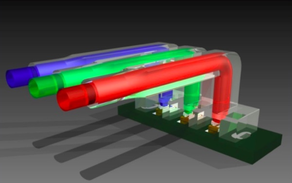 A computer-generated image of an LED light pipe array.