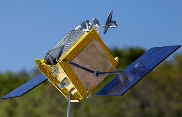 A model of a OneWeb satellite that is designed to provide global internet connectivity.