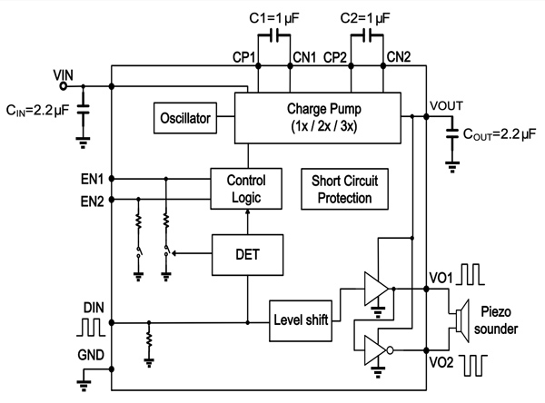 Image showing a typical application of the PAM8904E.