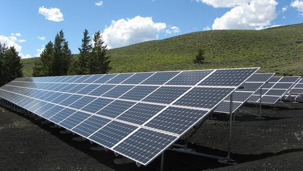 Solar panel arrays like these provide off-grid power for peak shaving.