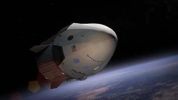 A SpaceX capsule in orbit.
