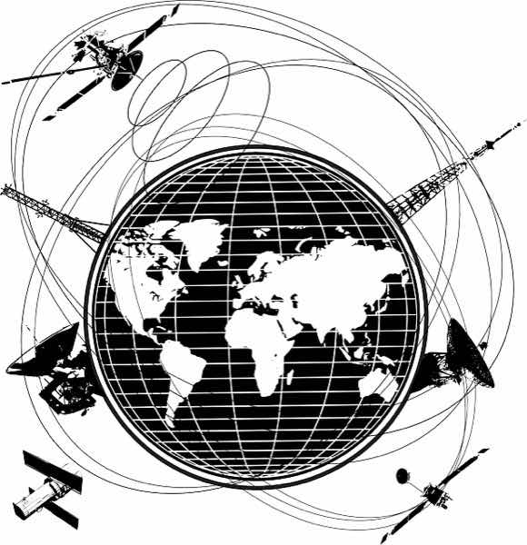 Telecommunications concept: a graphic that shows the world map surrounded by communications antennas and both ground and aerial satellites.