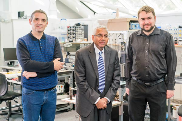 From left to right: William Hurley, Tilak Dias, and Theodore Hughes-Riley—the three main researchers working on the E-yarn technology.