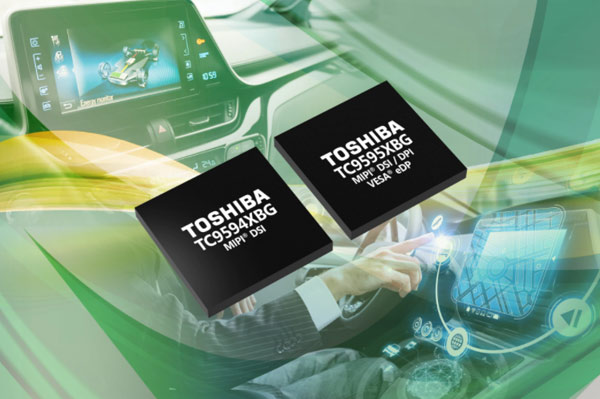 Toshiba's two interface bridge integrated circuits (pictured over a driver using an in-vehicle infotainment system): the TC9594XBG and the TC9595XBG.