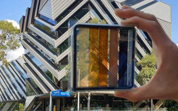Semi-transparent perovskite solar cell.