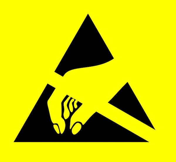 Warning symbol for electrostatic discharge.