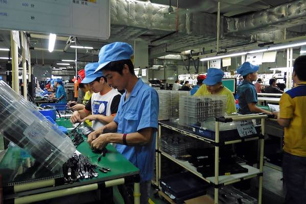 Workers at a technology factory in Zhuhai, China.