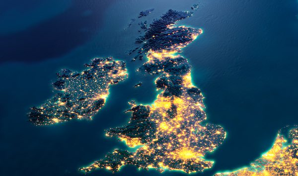 Power concentrations UK aerial view.