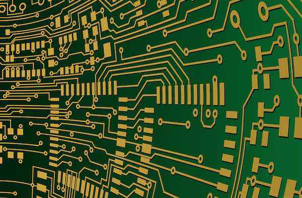 Circuit traces on a finished PCB.