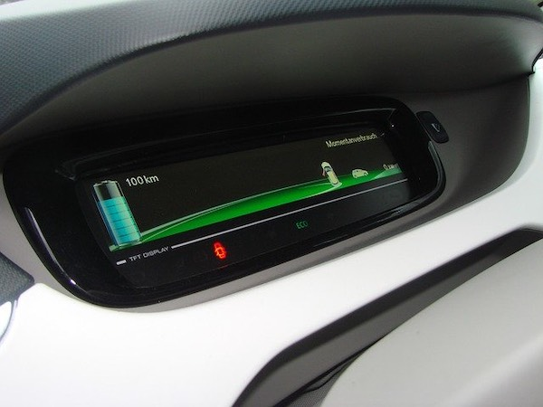 Display unit on an electric vehicle dashboard.