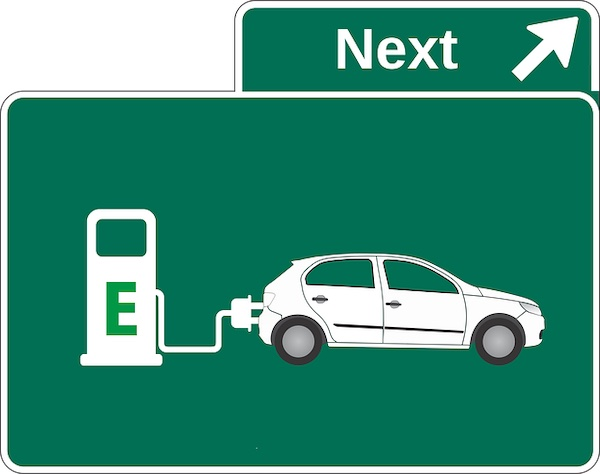 Highway sign electric vehicle recharge.