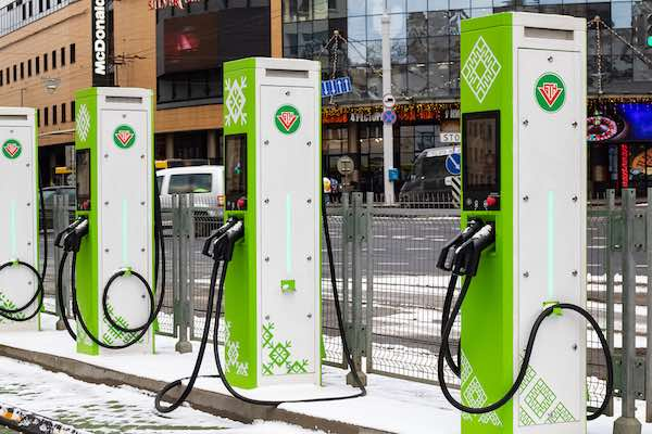 Multiple electric charging stations at Belarus.