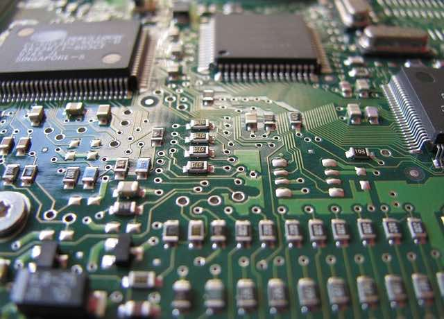 Electronic components on a PCB.