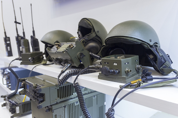 Military helmets and electronics