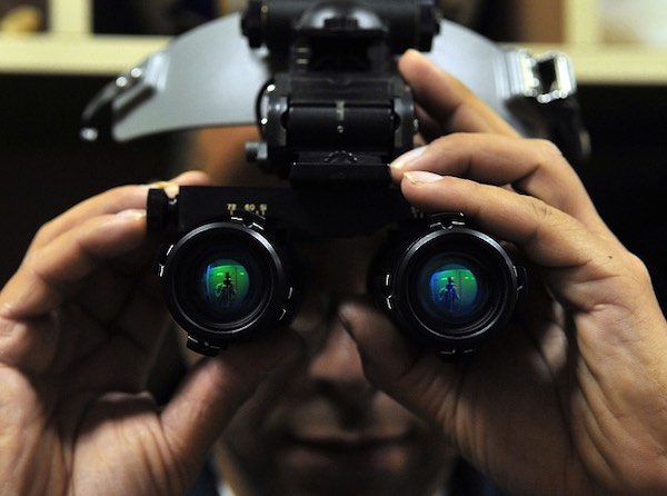 A soldier wearing night vision goggles.