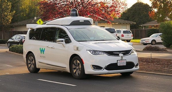 The Waymo Chrysler Pacifica Hybrid self-driving car.