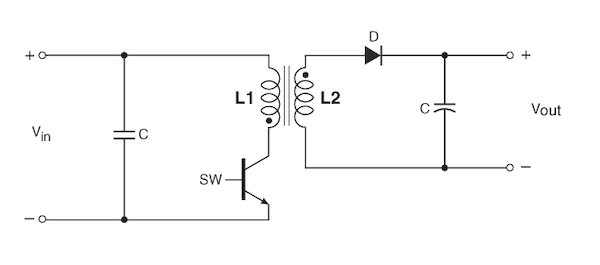 Typical flyback circuit schematic.